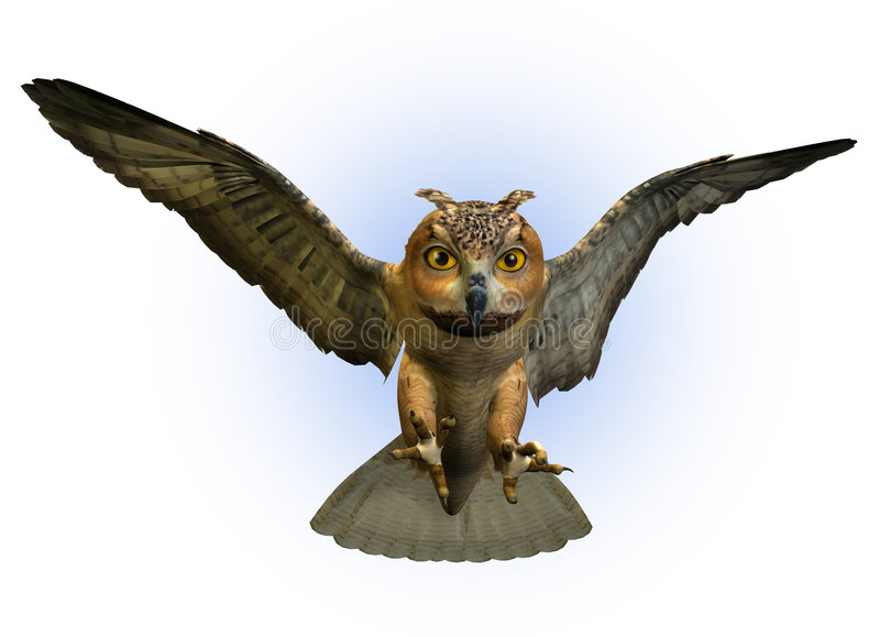 Owl Swooping Down - includes clipping path vector illustration