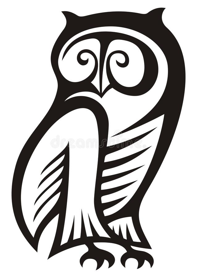 Owl symbol. Black and white owl symbol of wisdom and wealth vector illustration
