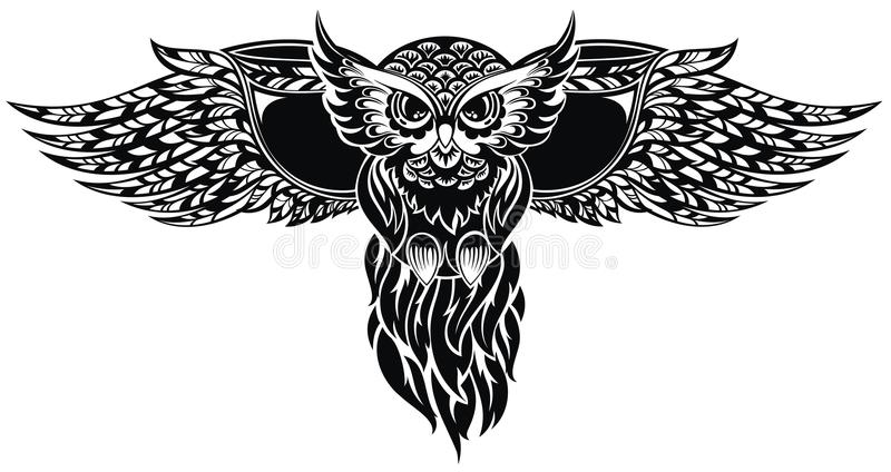 Owl. Tattoo design. Black and white decorative owl tattoo design royalty free illustration
