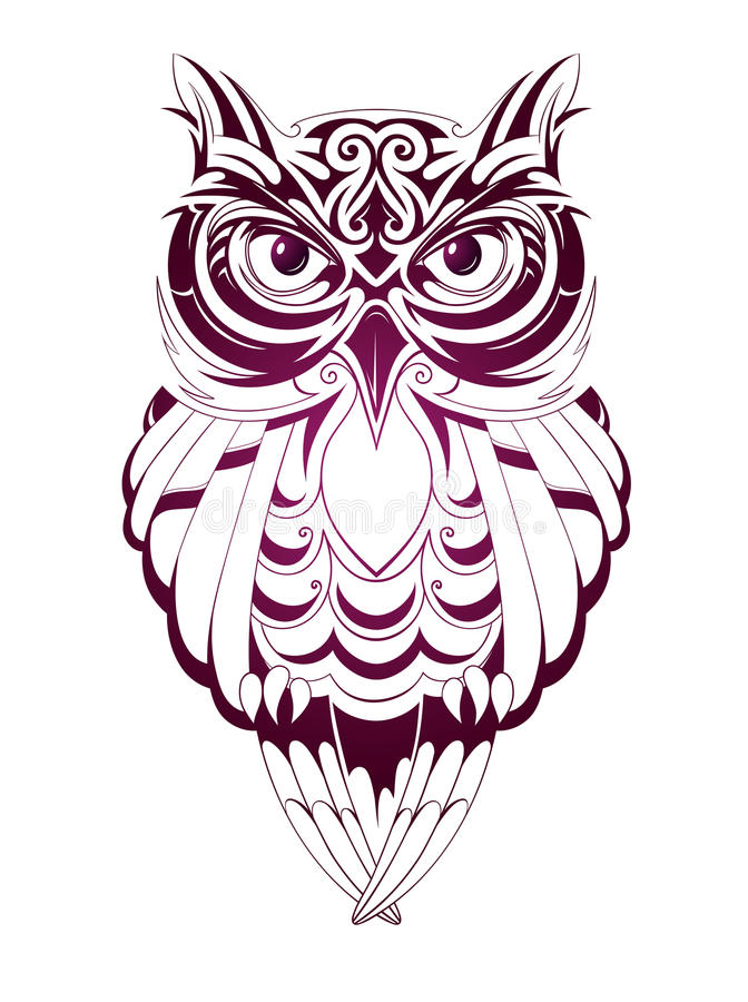 Owl tattoo. Vector illustration with owl tattoo isolated on white