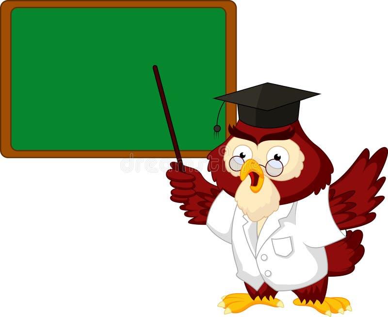 Owl teacher cartoon with board stock vector illustration