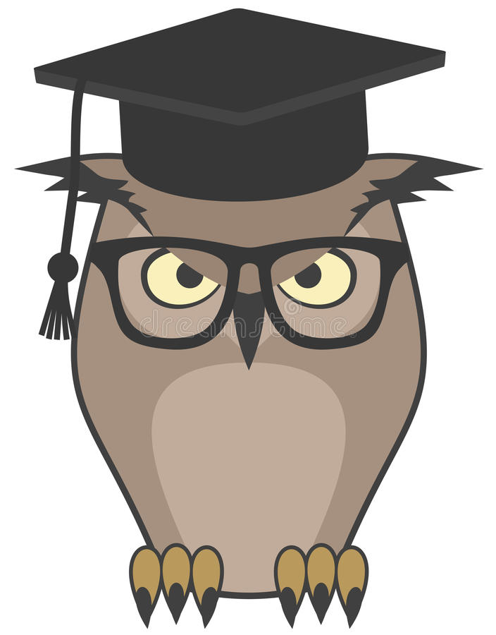 Owl teacher. Creative design of owl teacher stock illustration