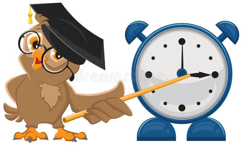 Owl teacher with glasses. Owl teacher shows pointer on the clock. Alarm clock royalty free illustration