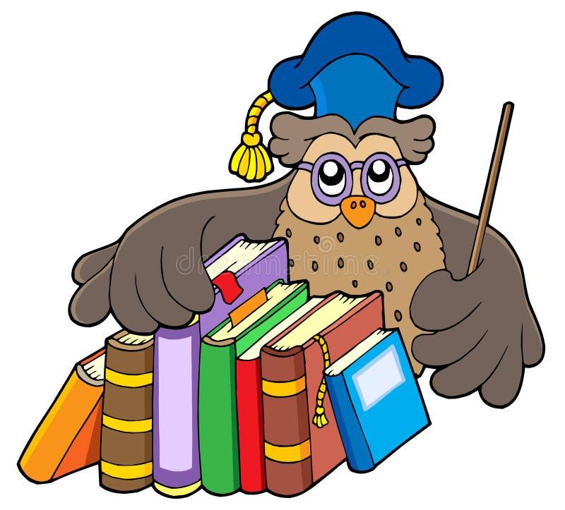 Owl teacher holding books royalty free illustration