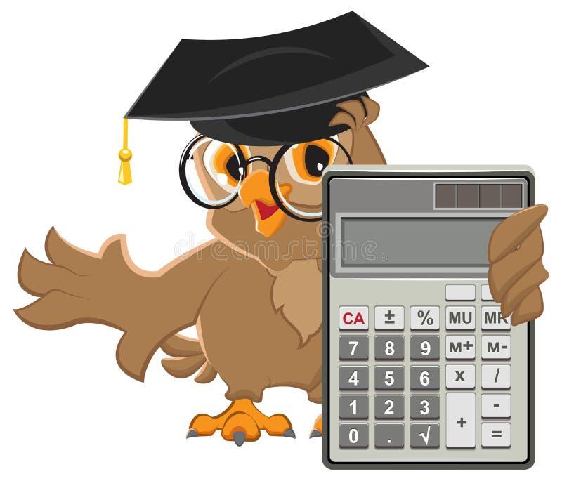 Owl teacher holding calculator royalty free illustration