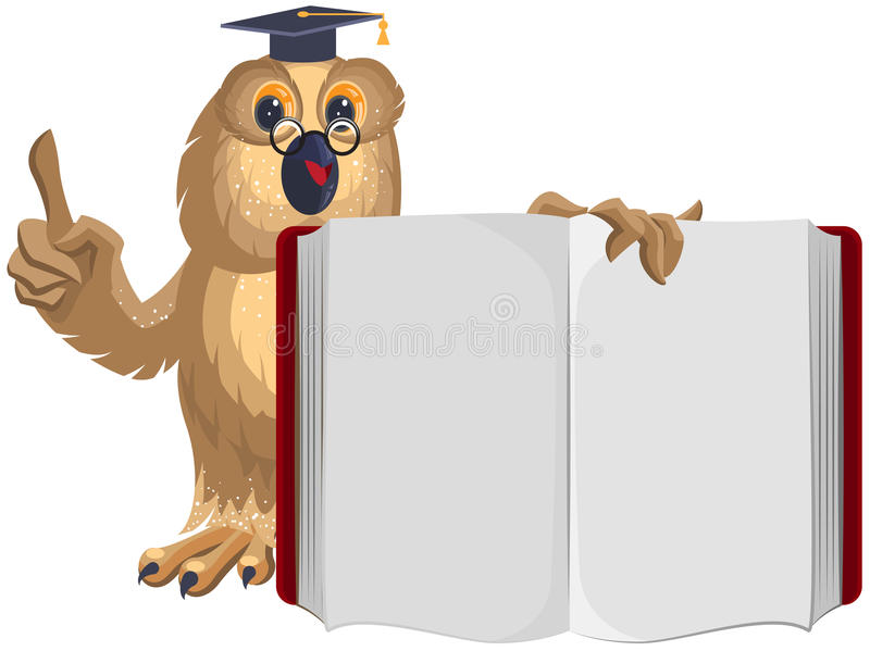 Owl teacher holding open book and shows up vector illustration