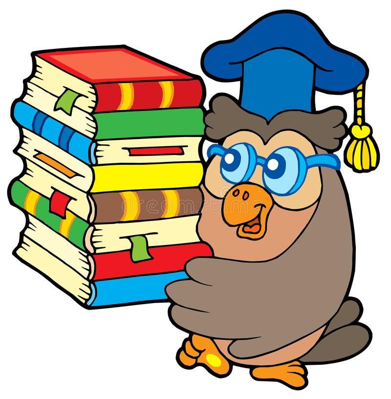Owl teacher holding pile of books royalty free illustration