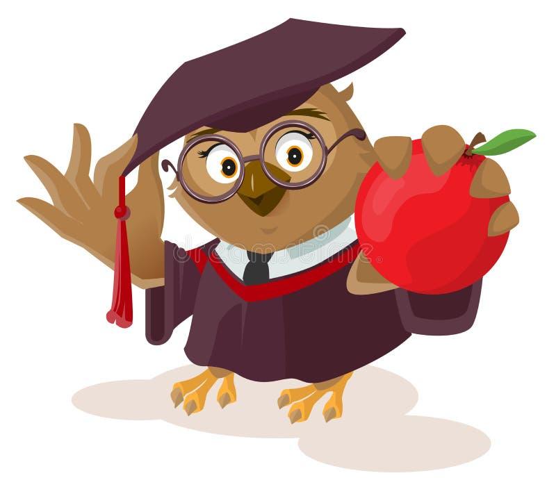 Owl teacher holding red apple royalty free illustration