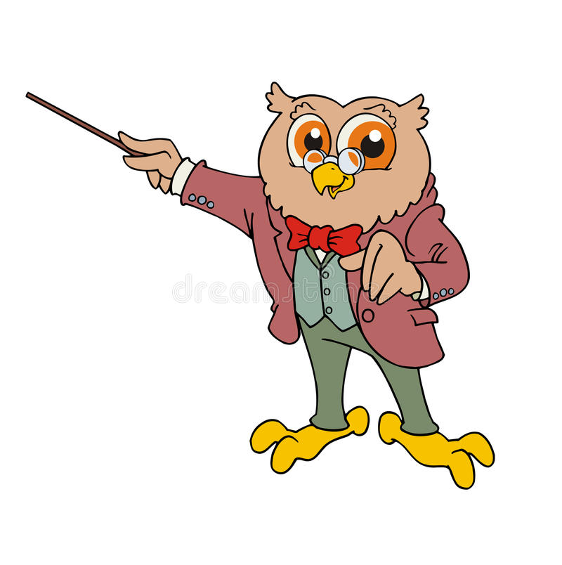 Owl teacher. Illustration of a cartoon cute owl teacher stock illustration