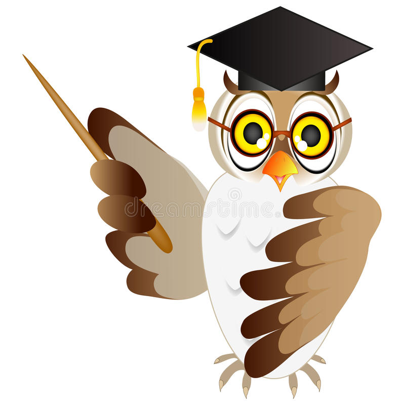 Owl teacher with a pointer. Owl teacher with a pointer, on a white background vector illustration