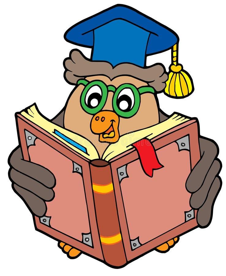 Owl teacher reading book royalty free illustration