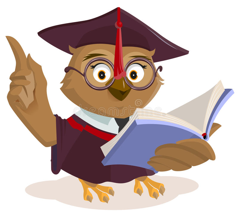 Owl teacher reading book vector illustration