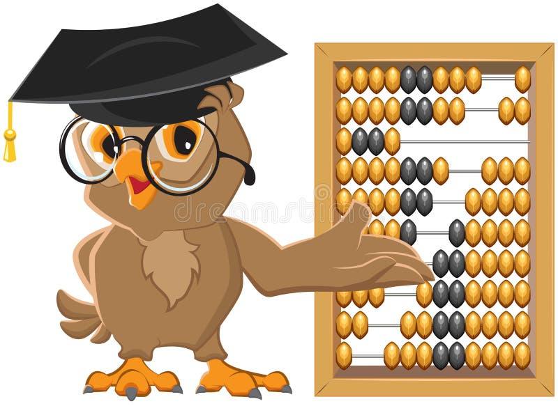 Owl teacher showing abacus. Illustration in vector format vector illustration