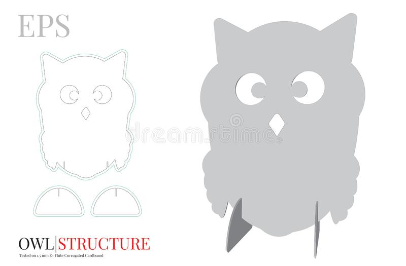 Owl Template mignon, vecteur avec découpé/laser avec des matrices a coupé des couches illustration libre de droits