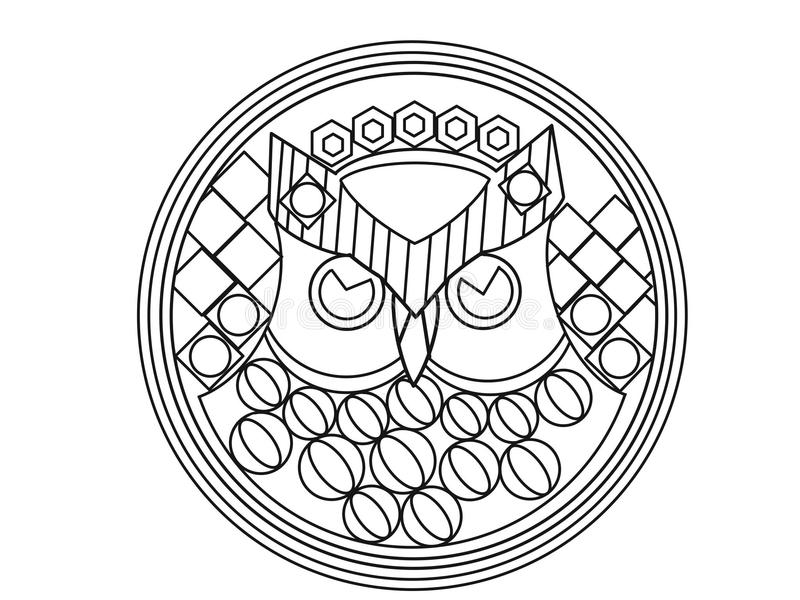Owl therapeutic art coloring page vector illustration