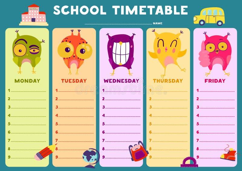 Owl Timetable Template ilustração do vetor