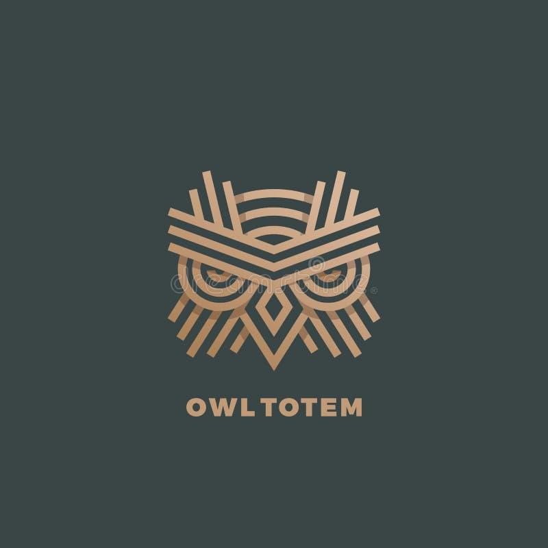 Owl Totem Abstract Vector Sign, emblème ou Logo Template Ligne d'or emblème de la géométrie de style illustration stock