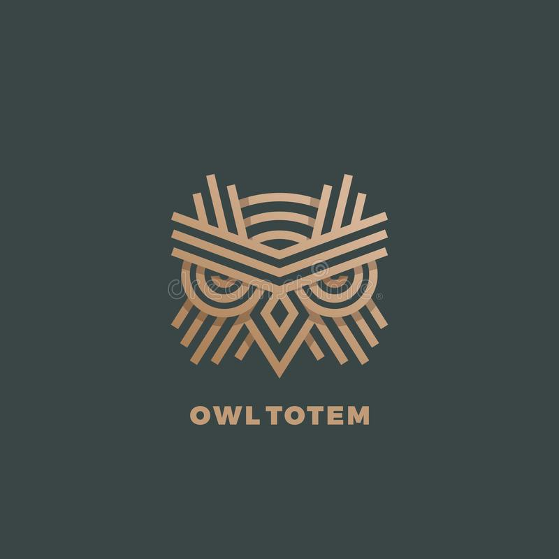 Owl Totem Abstract Vector Sign emblem eller Logo Template Guld- linje stilgeometriemblem stock illustrationer