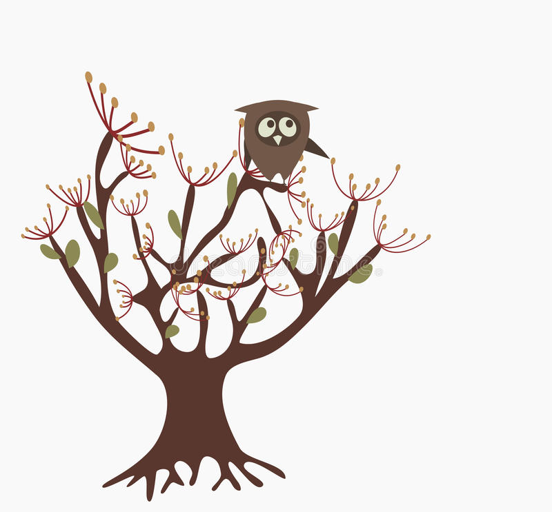 Download Owl on a tree stock vector. Illustration of relationship - 13893862