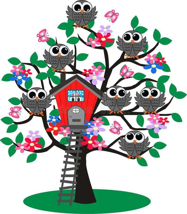 Download Owl tree stock vector. Image of colours, green, birdies - 22316453