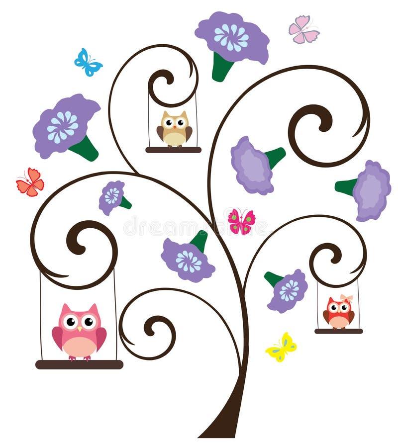 Owl Tree stock illustratie