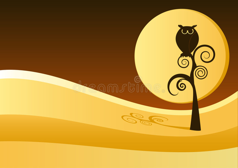 Download Owl on tree stock vector. Image of whimsy, bird, black - 8369834