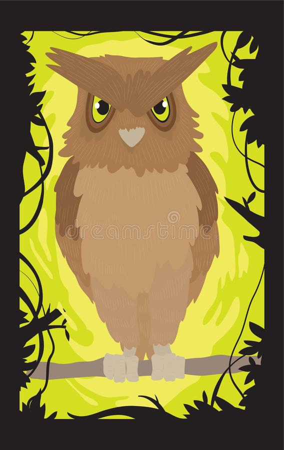 Owl on a tree branch stock illustration