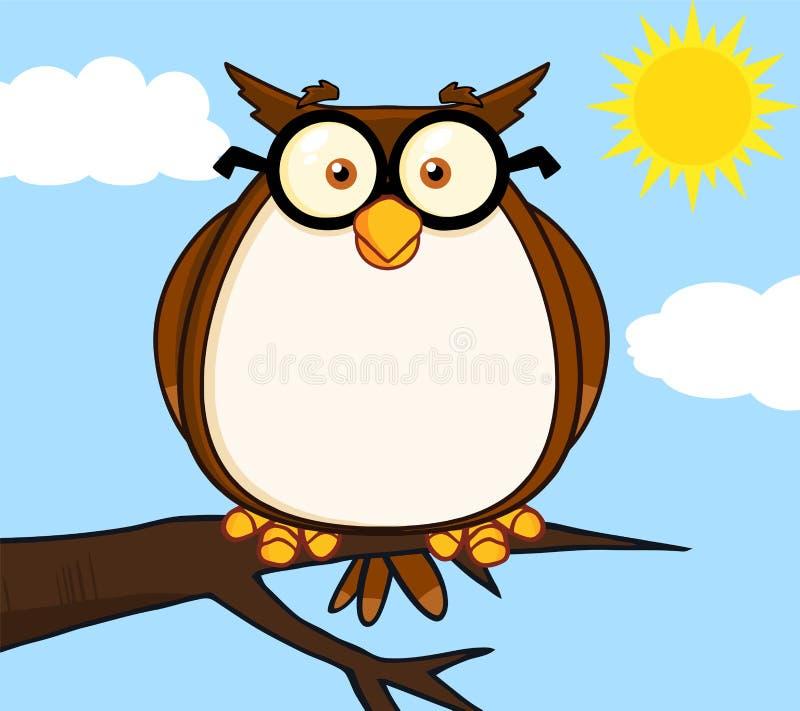 Owl On Tree Cartoon Character sábio ilustração do vetor