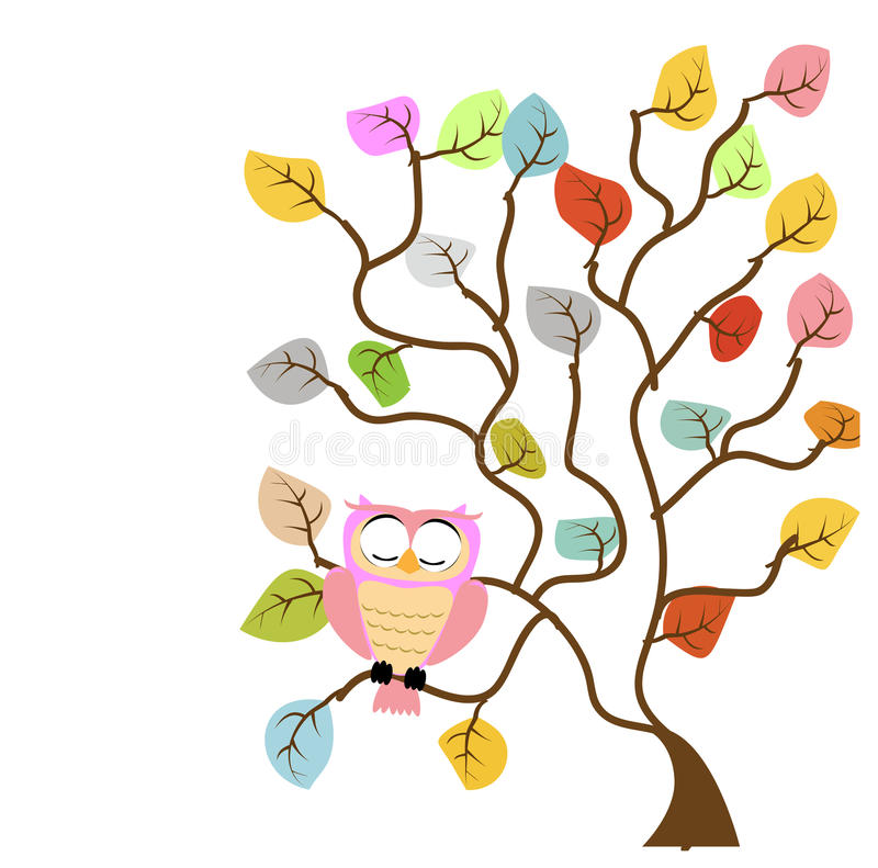 Tree and owl stock photo