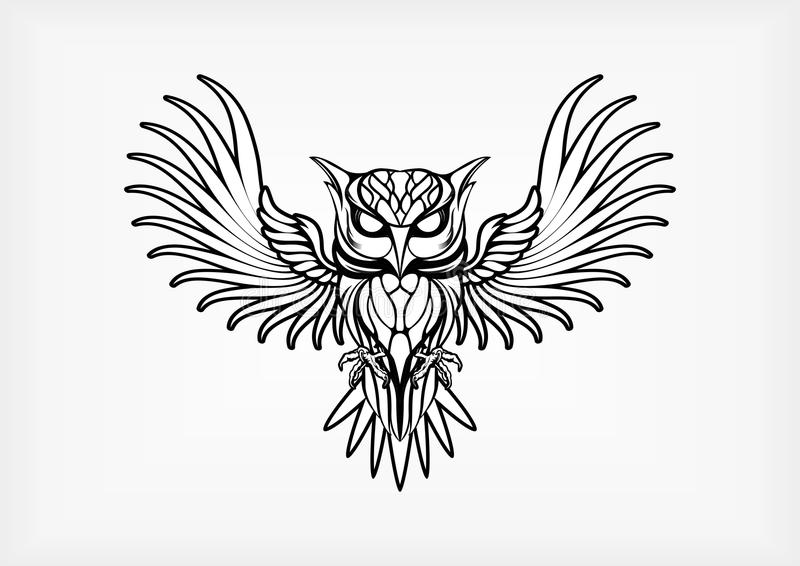 Owl Tribal Tatto Vector Illustration vector illustratie