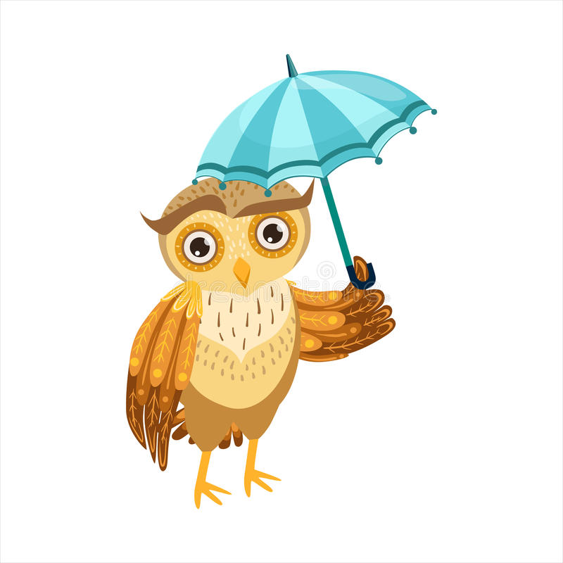 Owl With Umbrella Cute Cartoon Character Emoji With Forest Bird Showing Human Emotions And Behavior. Vector Illustration With Woodland Animal And Its Life vector illustration