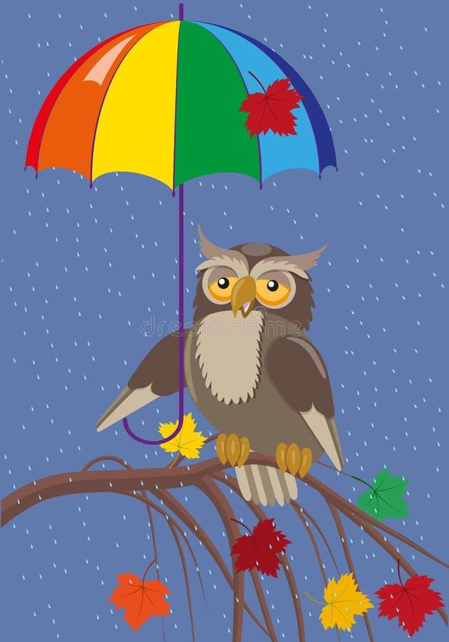 Owl under umbrella royalty free illustration