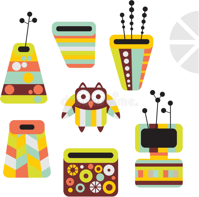Download Owl and vases. stock vector. Illustration of flower, cute - 32879854
