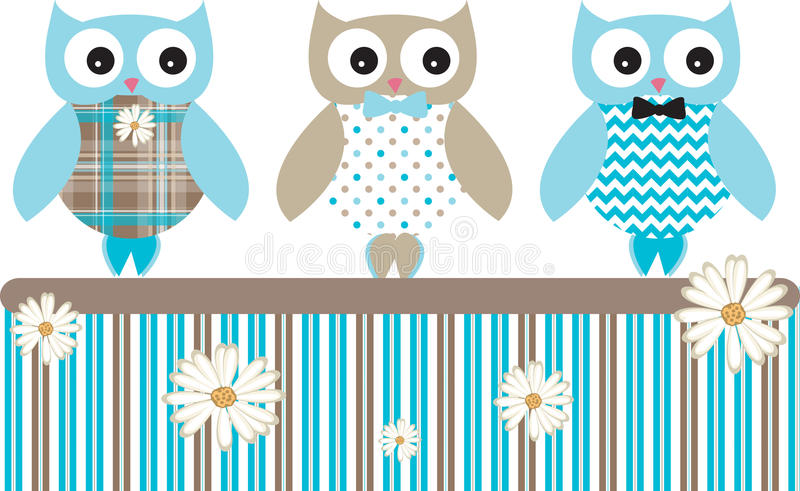 Owl Vector Patterns Fence sveglio illustrazione vettoriale