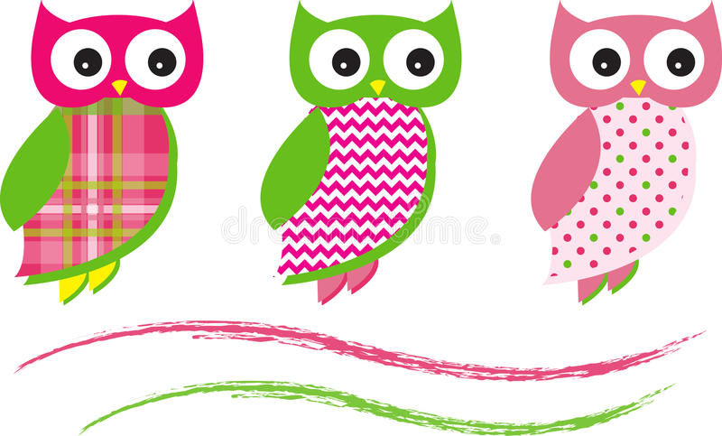Owl Vector Patterns Pink sveglio illustrazione vettoriale