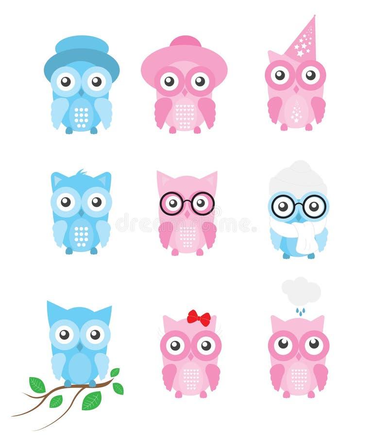 Owl Vetora Collection/ajustou-se com as ilustrações bonitos separadas das corujas dos desenhos animados, isoladas no fundo branco ilustração stock