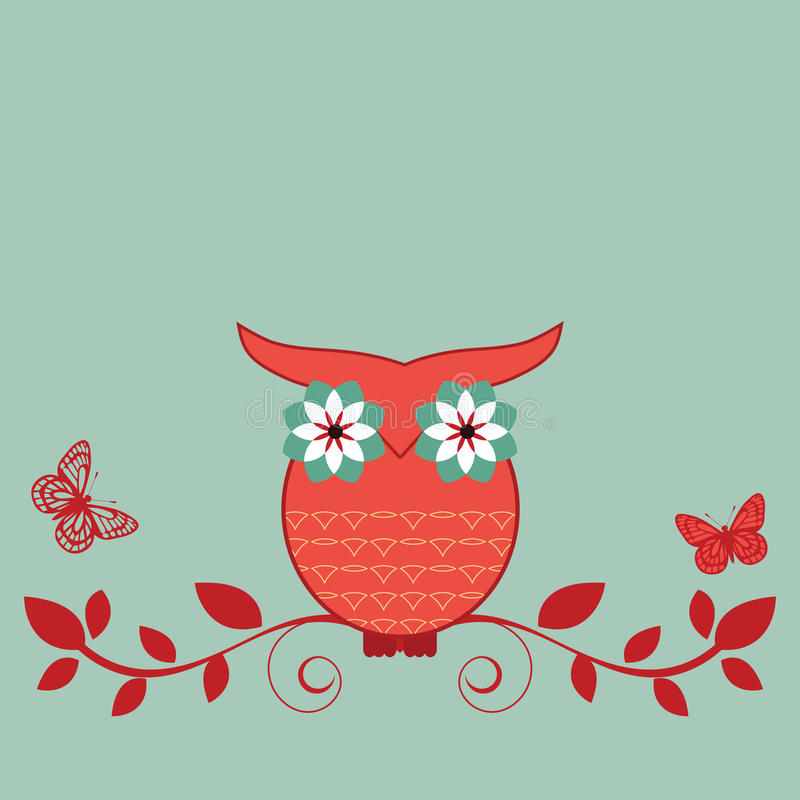 Owl on a vine. Whimsical owl on a vine with butterflies vector illustration