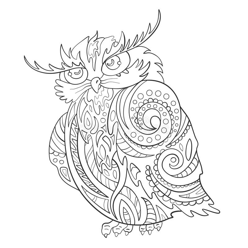 Owl. Zentangle. Print. Coloring page.Vector illustration royalty free stock photos