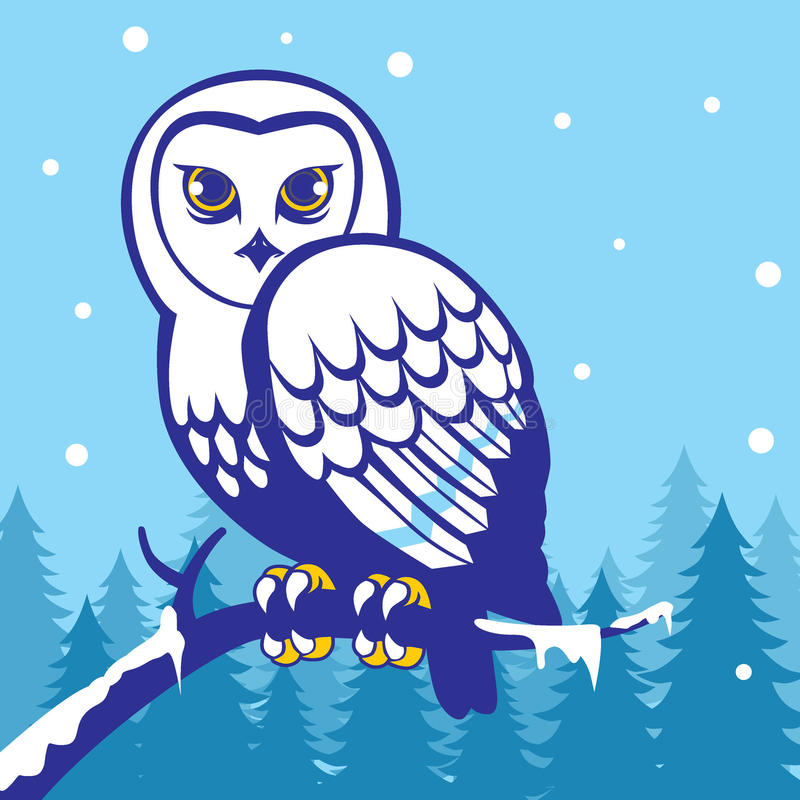 Download Owl in the winter season stock photo. Image of card, tree - 35934256