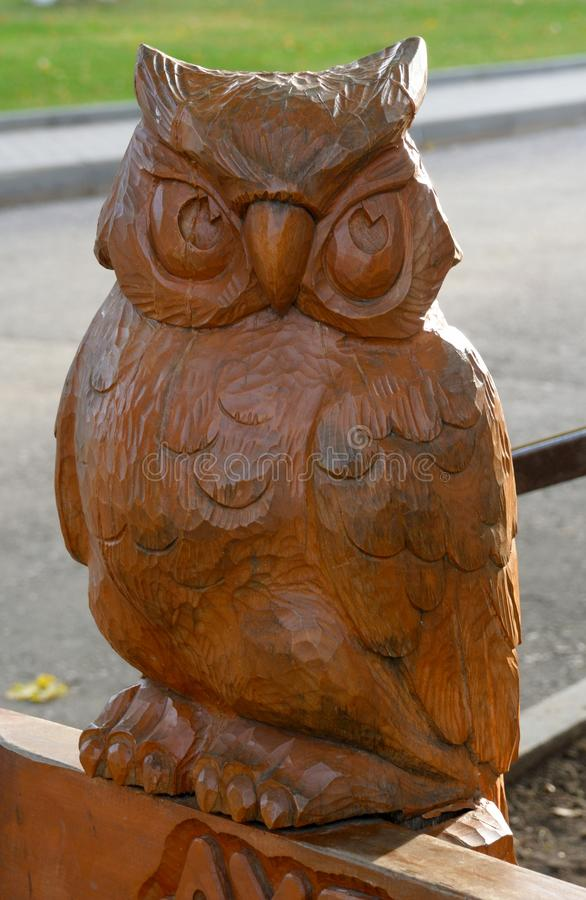 Owl Wood Carving à Moscou image libre de droits