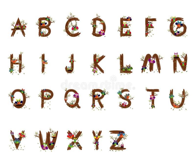 Owl Wood Vector marque avec des lettres a à polices de z photos stock