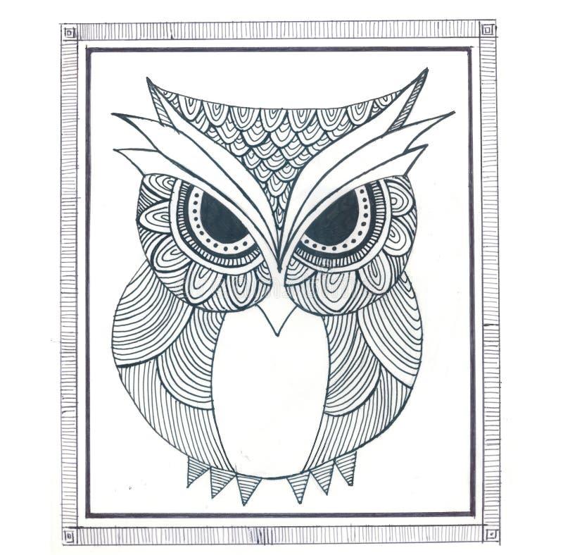 Owl Zentangle Simple imagens de stock