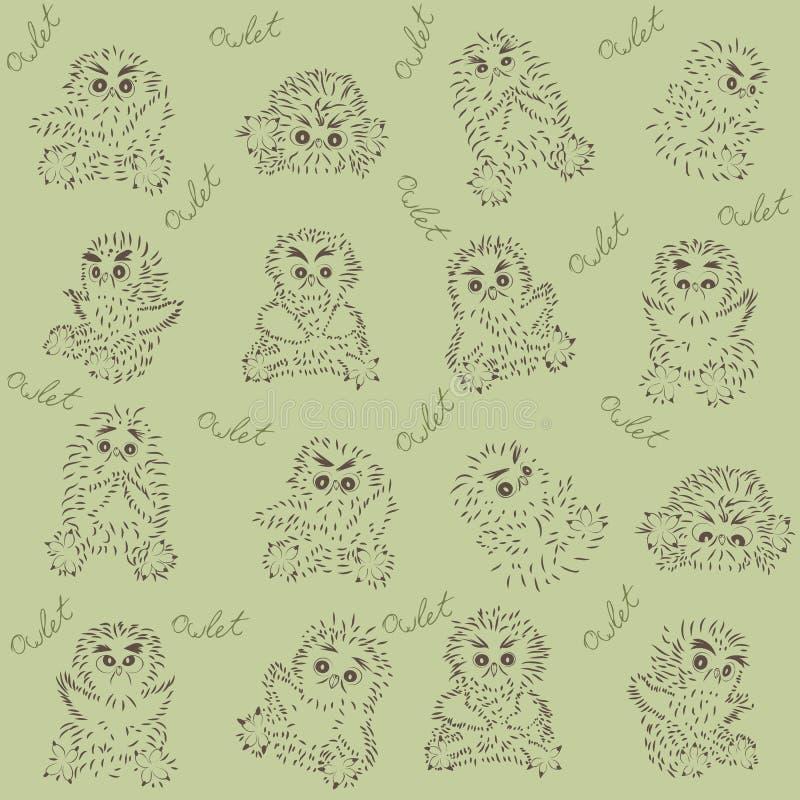 Owlet - bezszwowa tekstura obraz stock