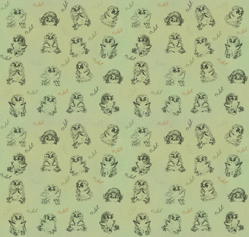 Owlets-seamless texture royalty free stock photography