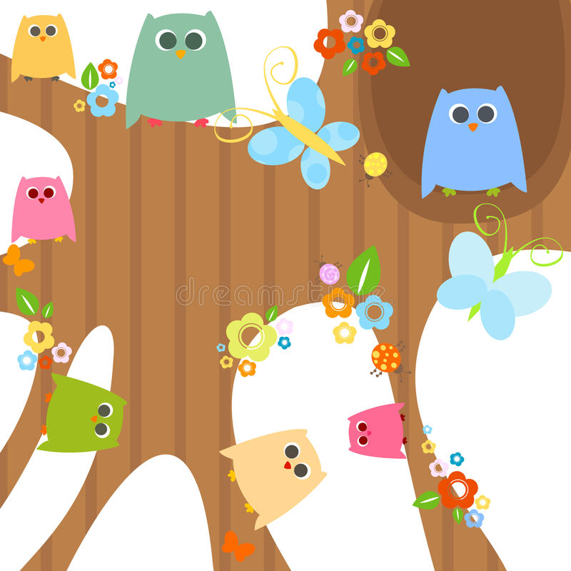 Download Owls stock vector. Image of background, colors, bloom - 17408759