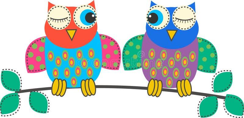 owls royaltyfri illustrationer