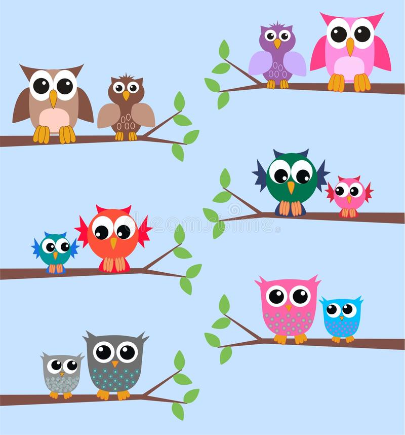 Owls. Illustration of different owls sitting on branches