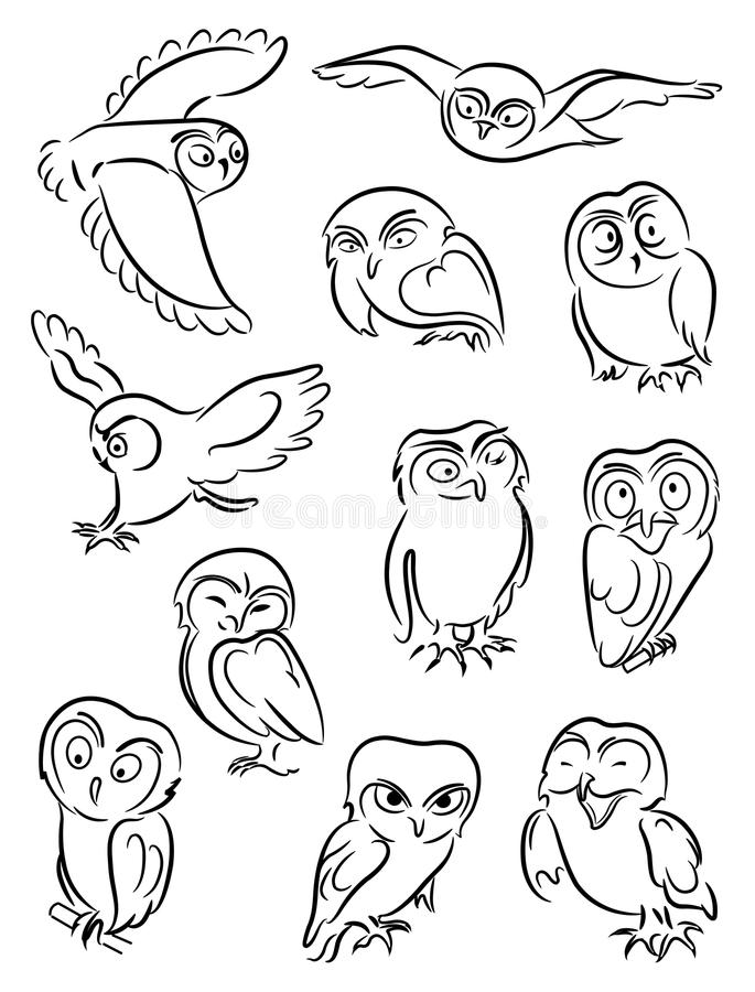 Owls vektor illustrationer
