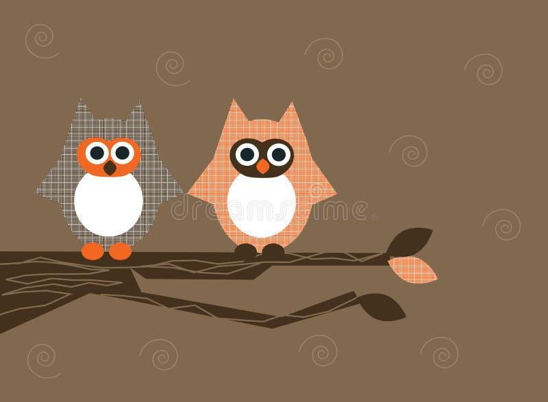 Owls on branch royalty free illustration