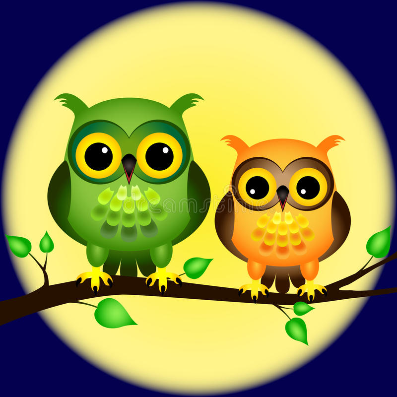 Download Owls On Branch With Full Moon Stock Vector - Image: 24740847